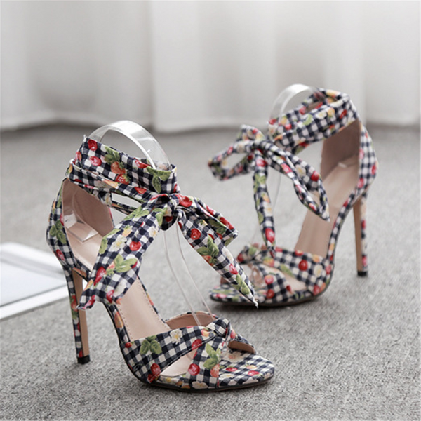 Sweet Floral Cloth Strap High Heel Sandals