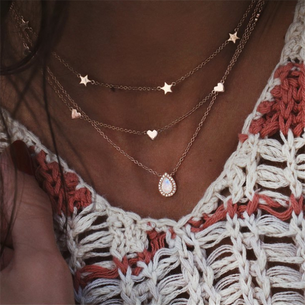 Pentagram drop multi-layer necklace