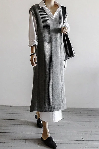 Fashion V Neck Loose Long Knitted Vest