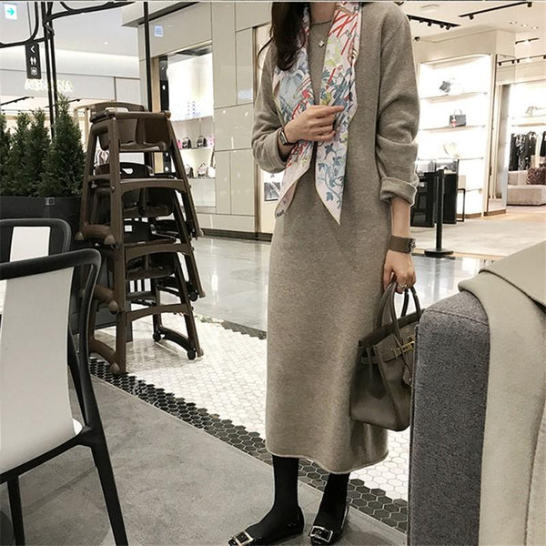 Fashion Simple Loose High Necked Knitted Maxi Dress