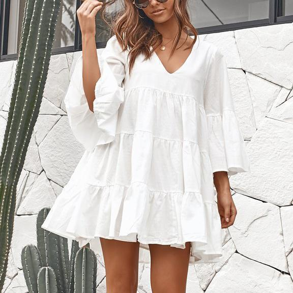 V-Neck Loose Pleated Split Mini Dress