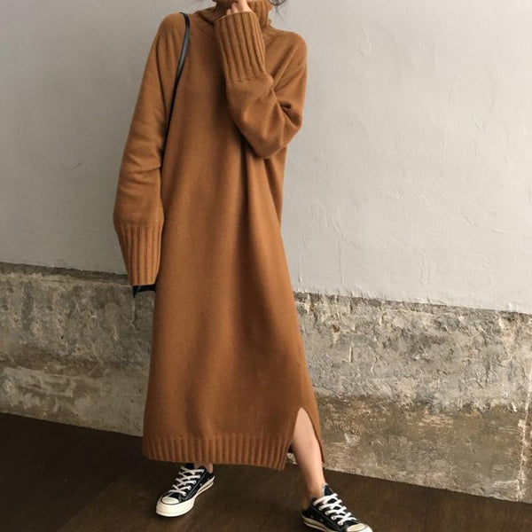 Casual High Collar Long Knitted Sweater Maxi Dress