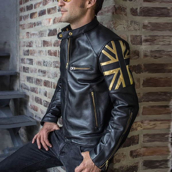 Men's locomotive faux leather retro color long sleeve jacket