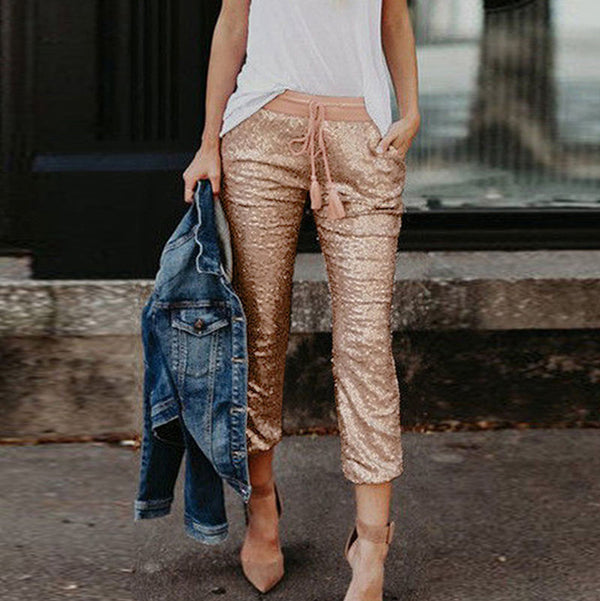 Sequined high waist tassels drawstring calf pants