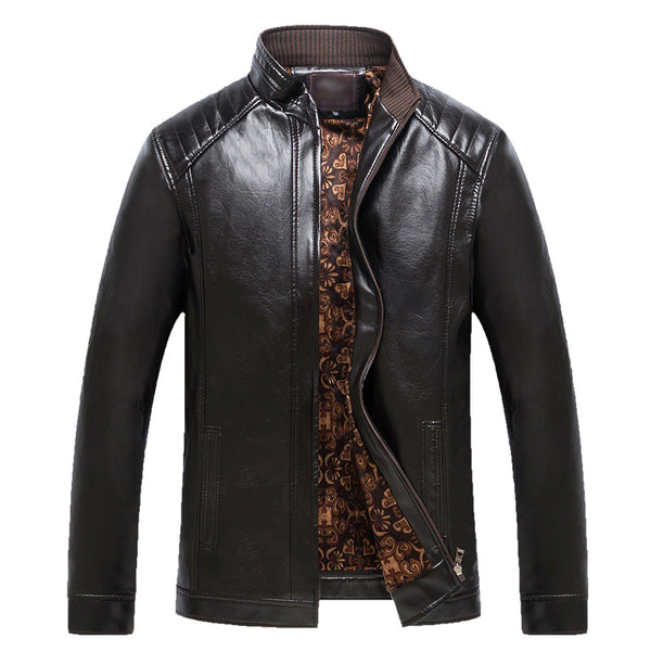 Man's Urban Leisure Stand Collar Leather Jacket