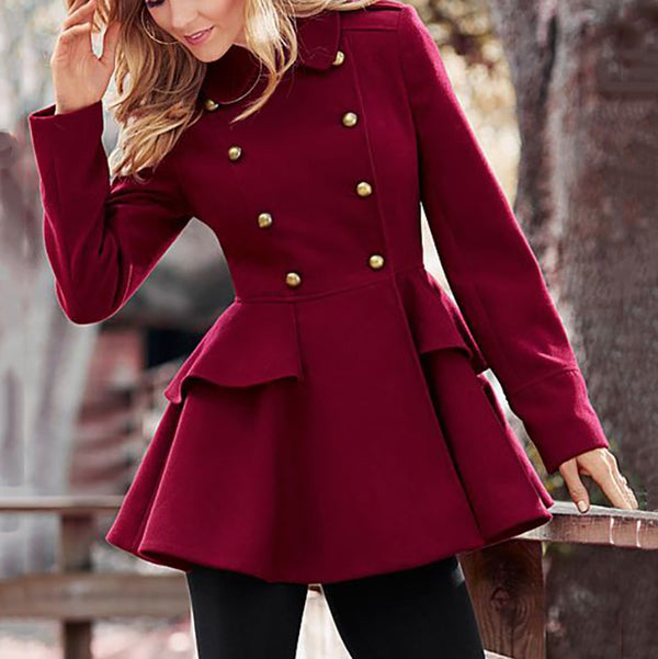 Fashion Long Sleeve Double-Breasted Overcoat