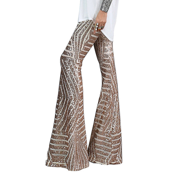 Sequined high waist slimming versatile casual pants