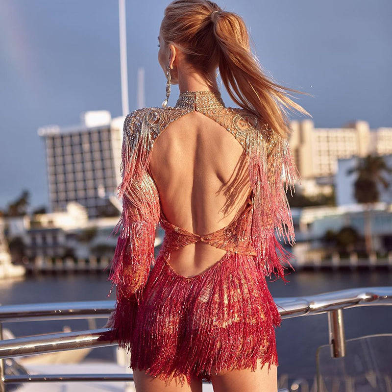 Womens Sexy Backless Tassel Dress