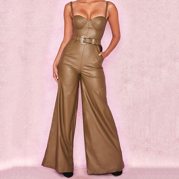 Fashion sexy belt belt hanging band leg jumpsuit