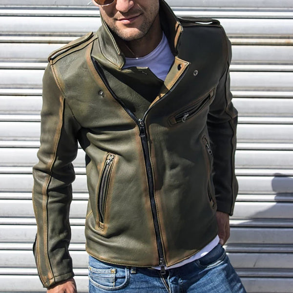 Men's Street Pat Leather Stand Collar Jacket