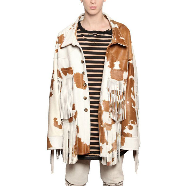 Men's Fashion Single-breasted Printed Color Splicing Tassel Coat