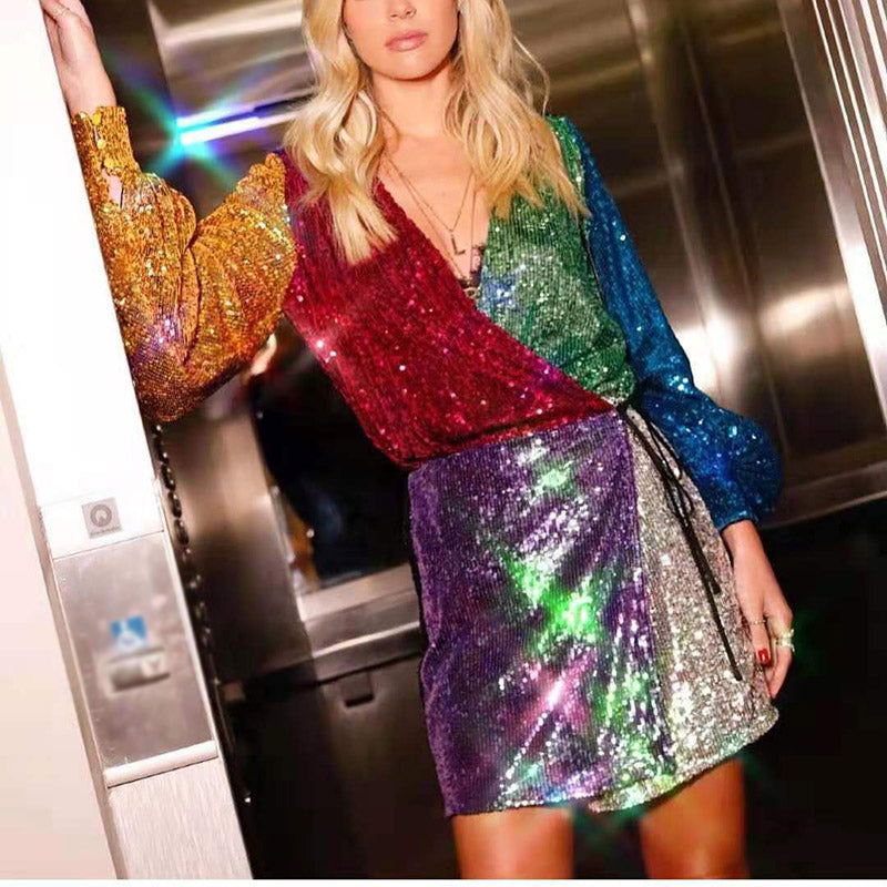 Fashion stitching color sequin dress