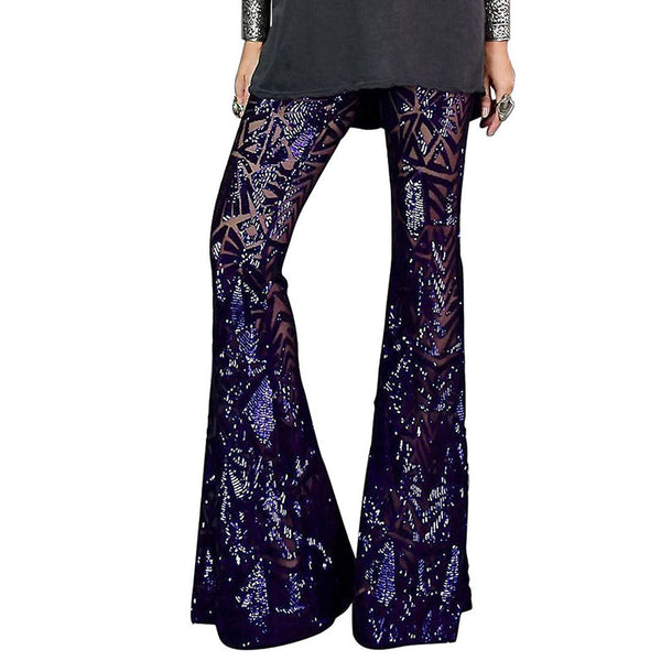 Sexy horn sequined high waist casual trousers