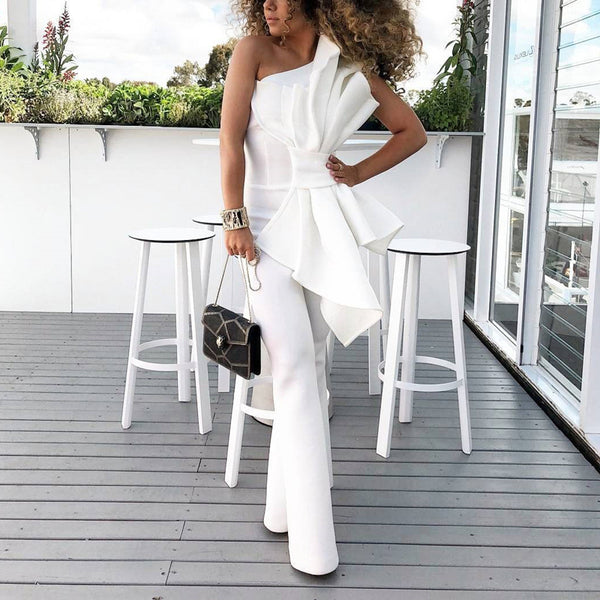 Women's one shoulder bow-knot decor jumpsuit