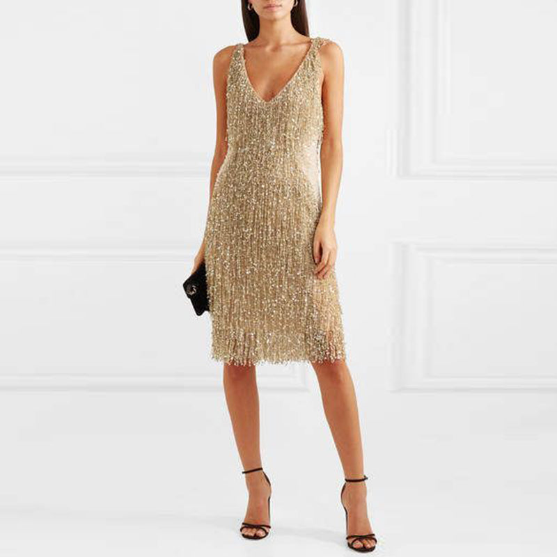 Finalpink V-neck fringed sling backless sexy dress