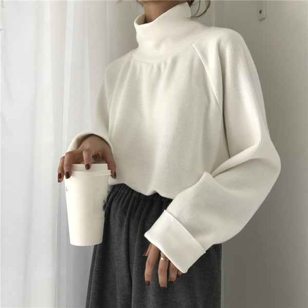 Vintage loose long sleeve turtleneck sweater