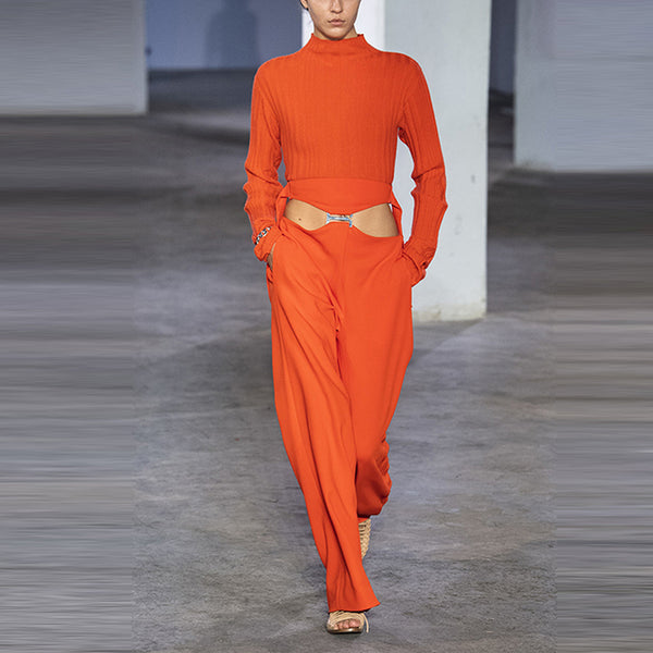 Design high collar orange long sleeve pocket jumpsuit