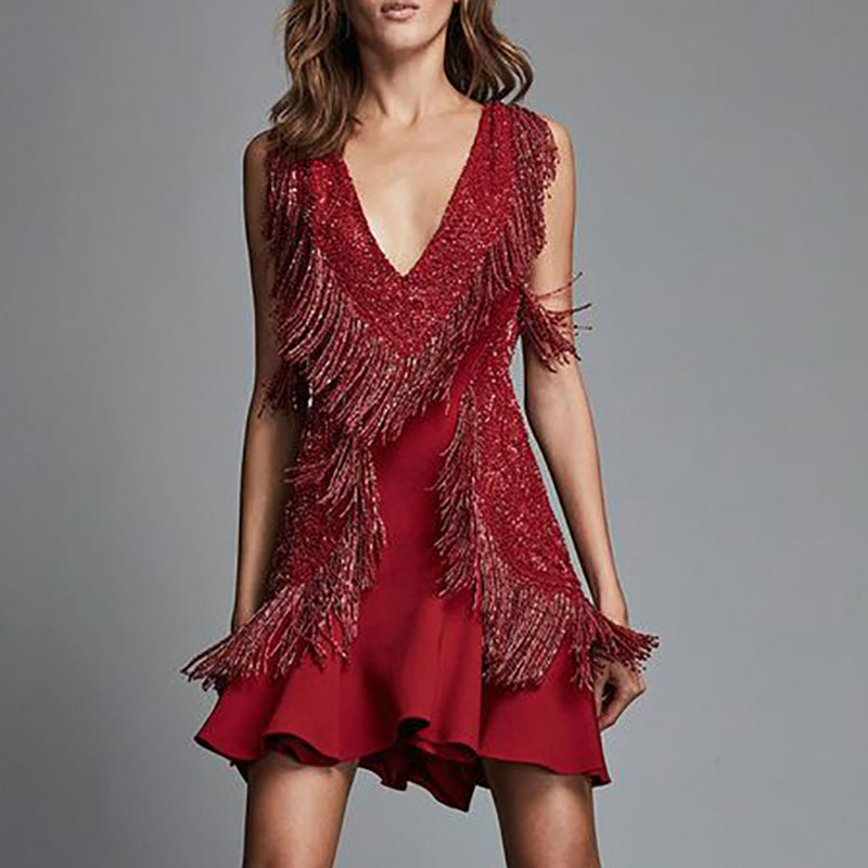 Sexy Deep V Neck Tassel Dress