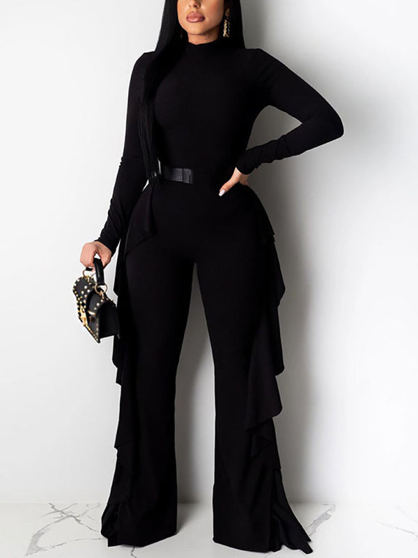 Knitted sexy tight-leg wide jumpsuit