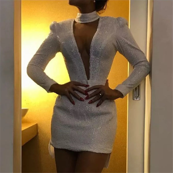 Finalpink Sexy Deep V-neck Long Sleeve Mini Dress