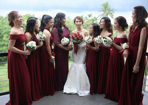 maroon infinity dress tagaytay wedding francis and arvie