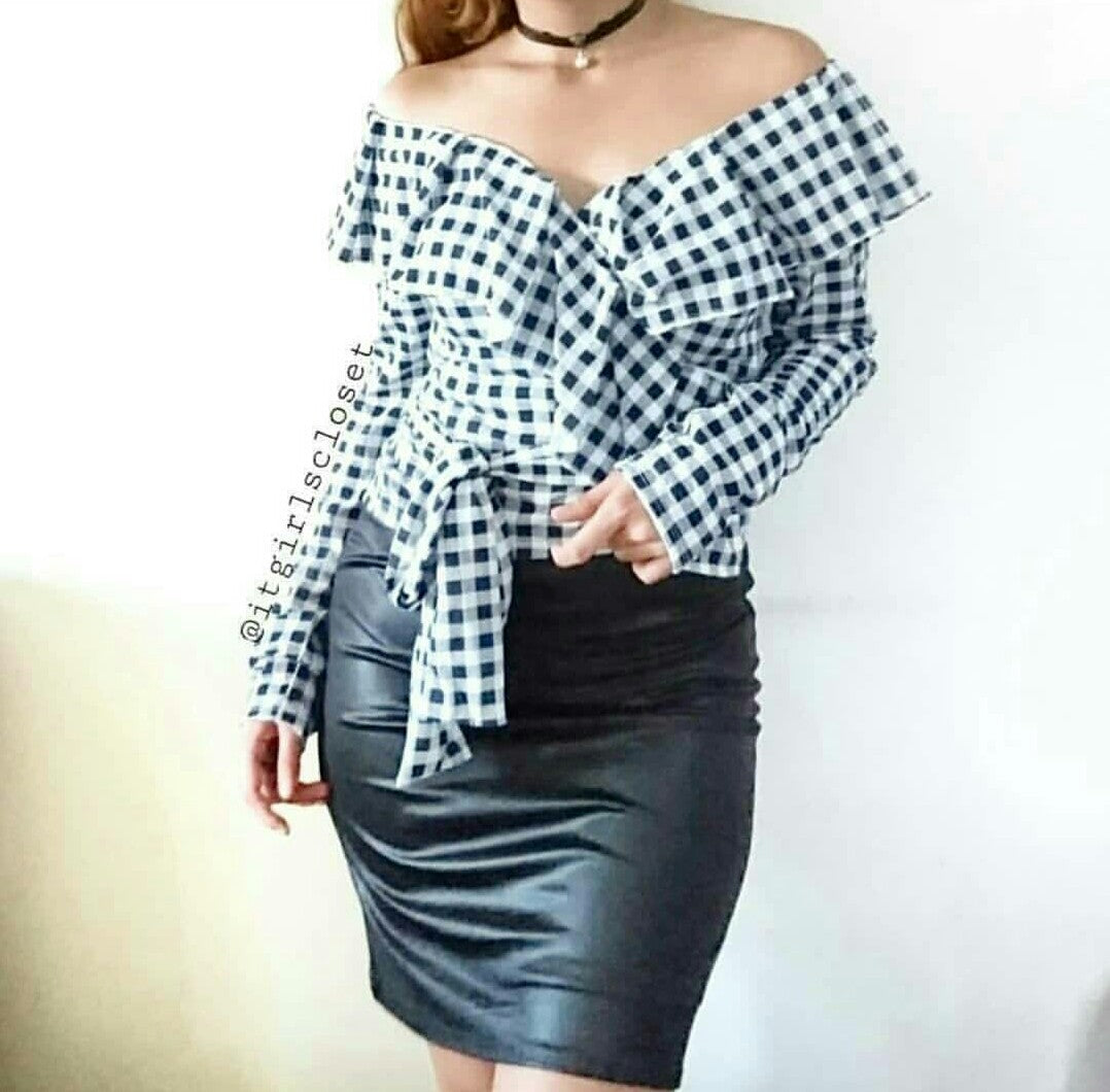 Shannice wrap top (gingham)