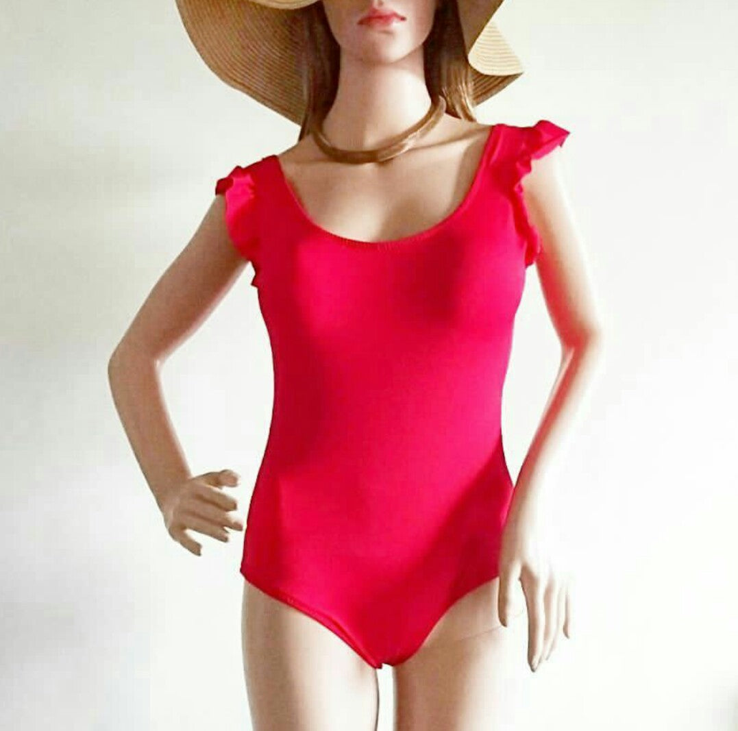 Ruffled shoulders monokini