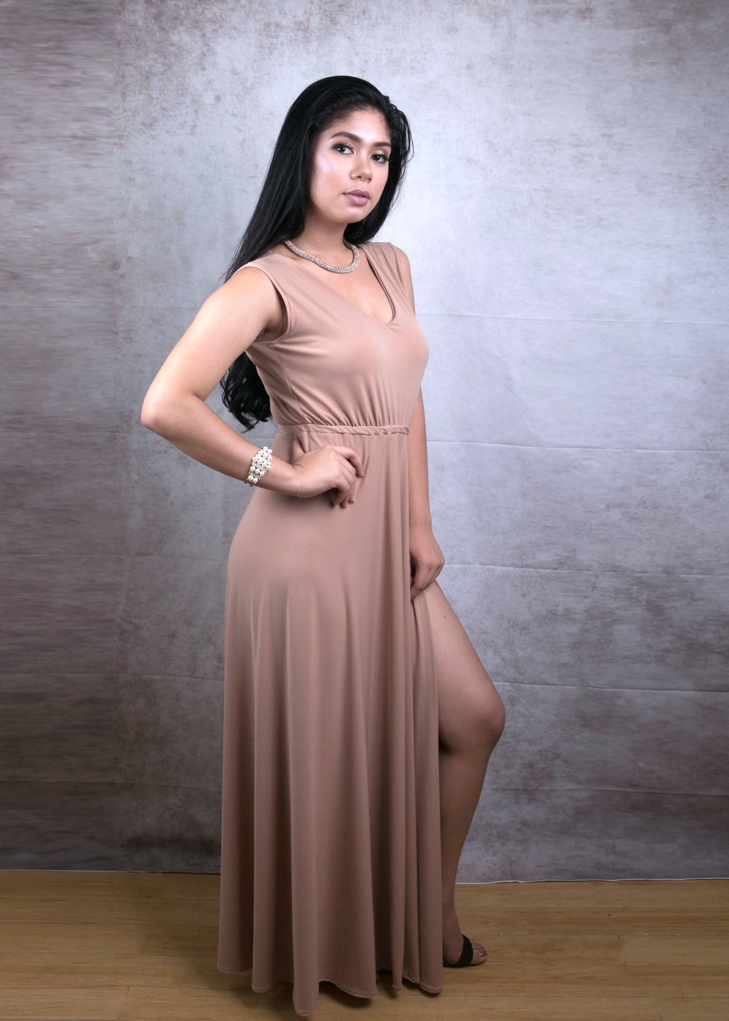 Viola Long Dress with overlap slit