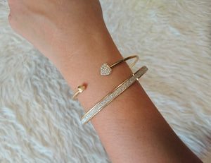 Studded Heart open cuff bracelet + Shimmer bangle