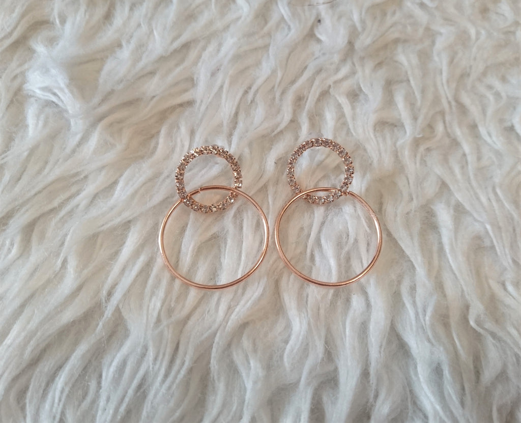 Korean Style Studded Hoop Formal Earrings