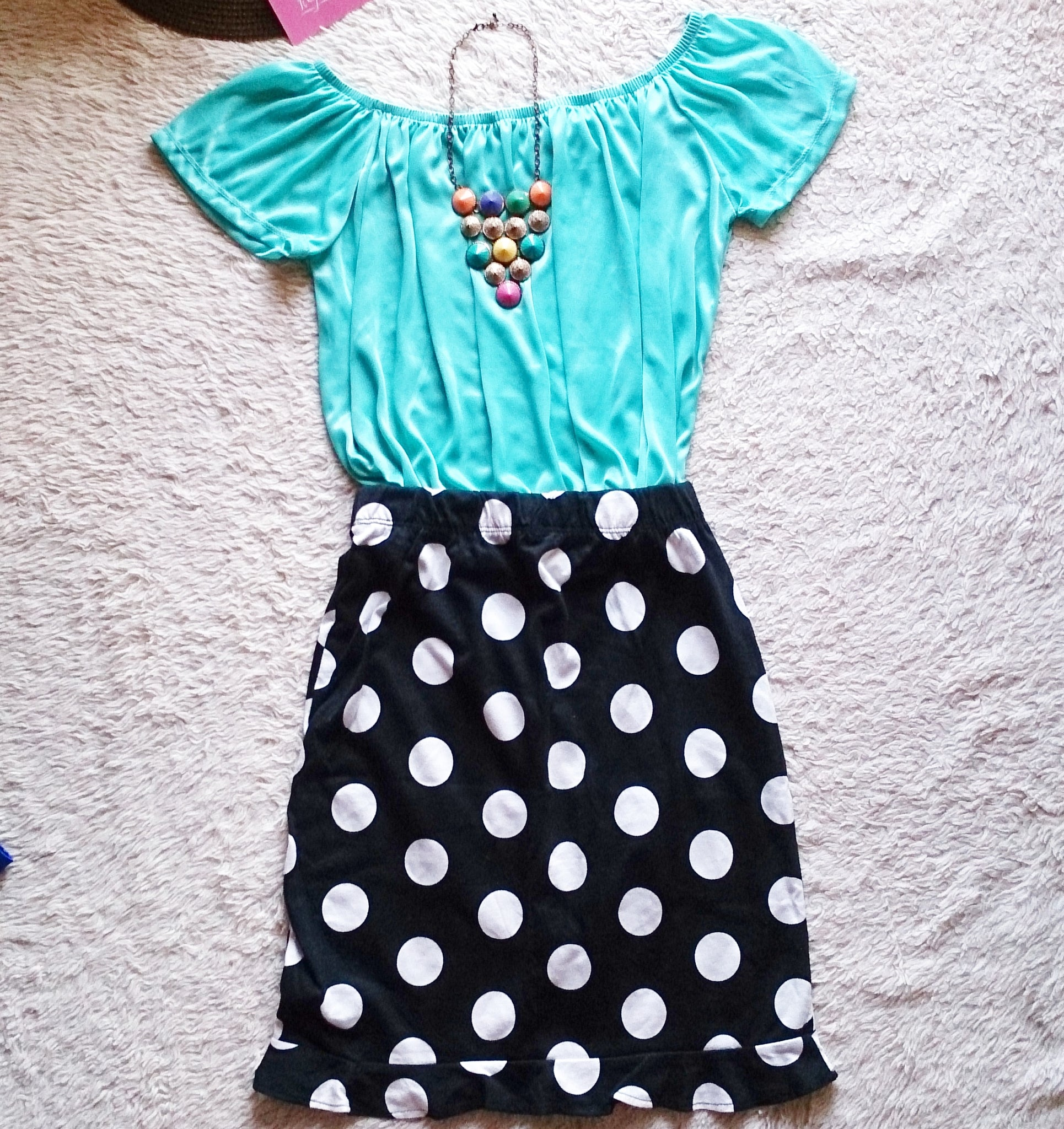 Polka ruffled pencil skirt