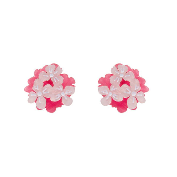 Heartfelt Hydrangea Earrings Pink