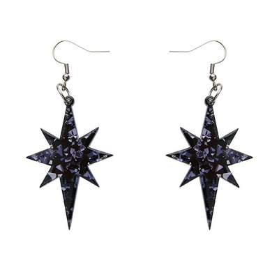 Starburst Chunky Glitter Resin Drop Earrings - Black