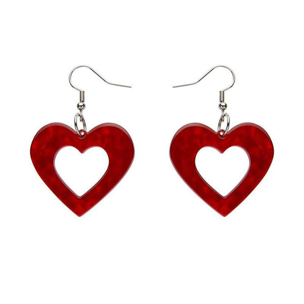 Heart Ripple Resin Drop Earrings - Red