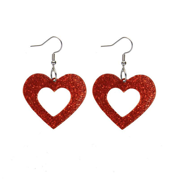 Heart Glitter Resin Drop Earrings - Red