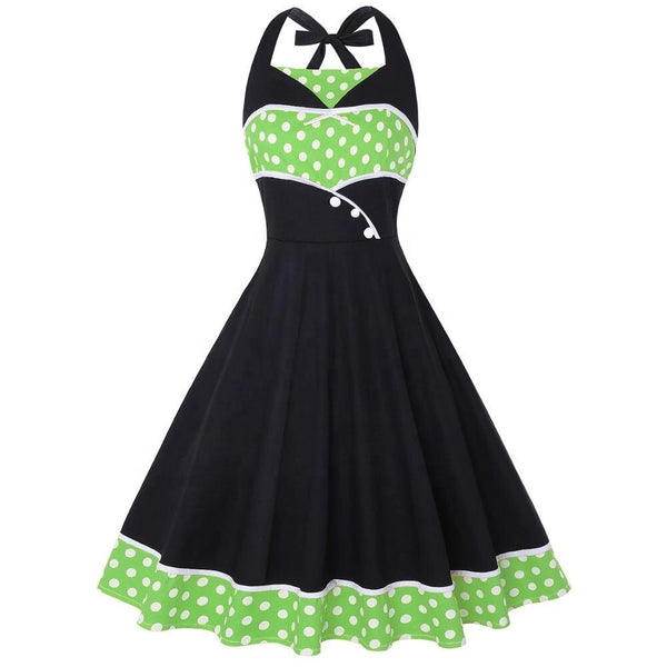 Green Polka Dot Halter Neck Dress