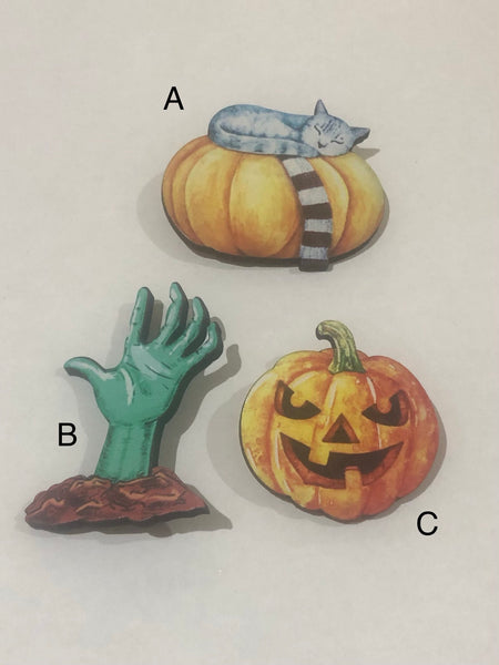 Halloween Wooden Brooches