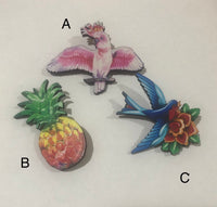 Birds Pineapple Wooden Brooches
