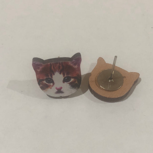 Cat Wooden Earrings