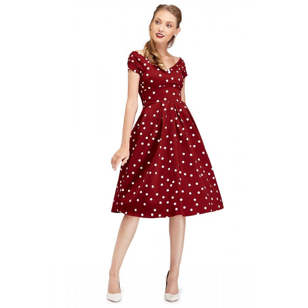 Lily Off Shoulder 50's Polka Dot Evening Dress in Burgundy/White