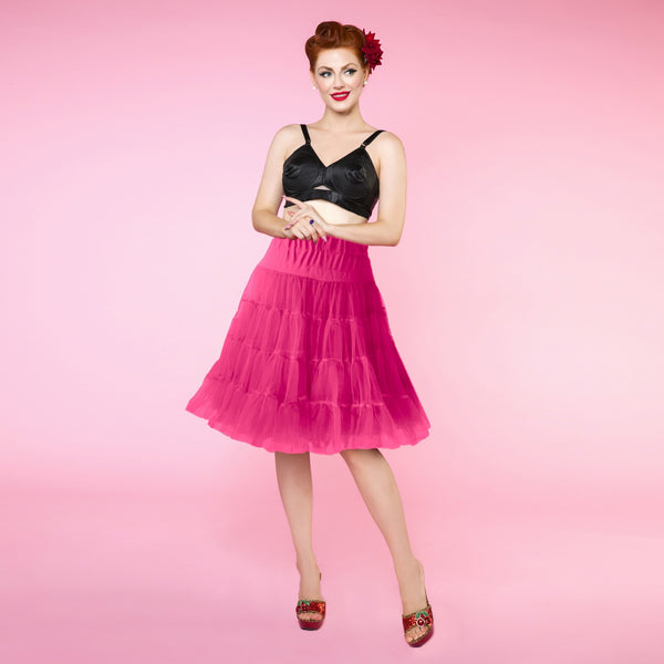 Flared Petticoat 58.5 cm/23 Inches in Hot Pink