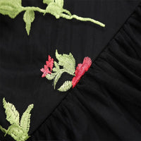 Black Embroidered Rose Dress