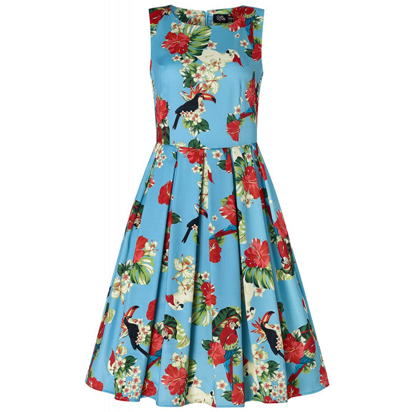 Annie Pecan, Parrot & Leaf Print 1950 Inspired Dress in Sky Blue with Pockets