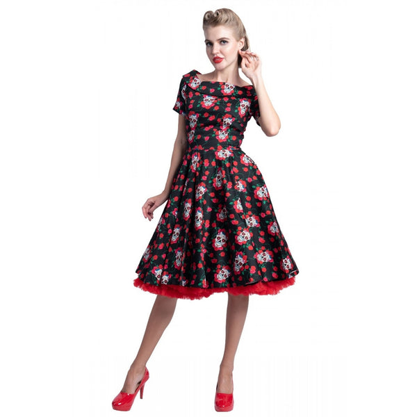 Rockabilly Skulls & Roses Darlene Swing Dress