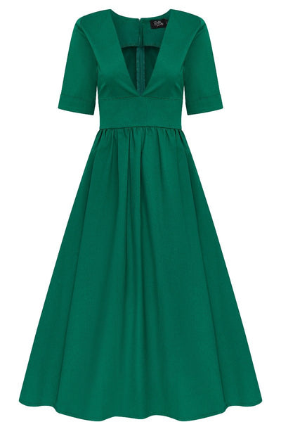 Rosanne Midi-Length Very Deep V neck Swing Dress in Apple Green