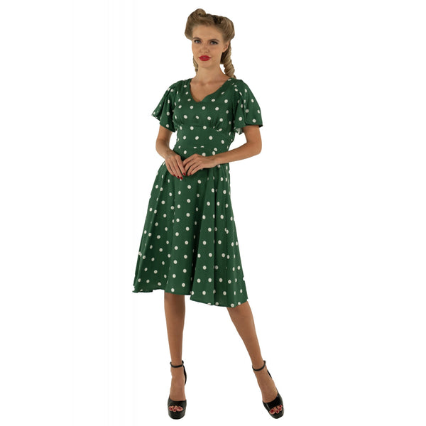 Janice Summer Dress in Green/White Polka Dot