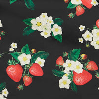 Amanda 50s Inspired Strawberry Print in Black Swing Dress