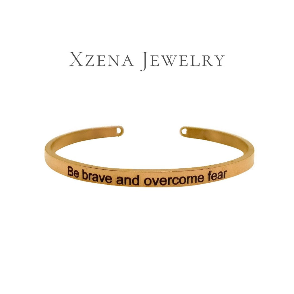 Be brave and overcome fear Armband Rose Gold - Xzena