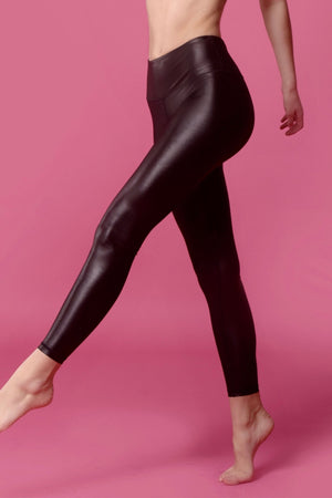Shiny black Leggings - Xzena