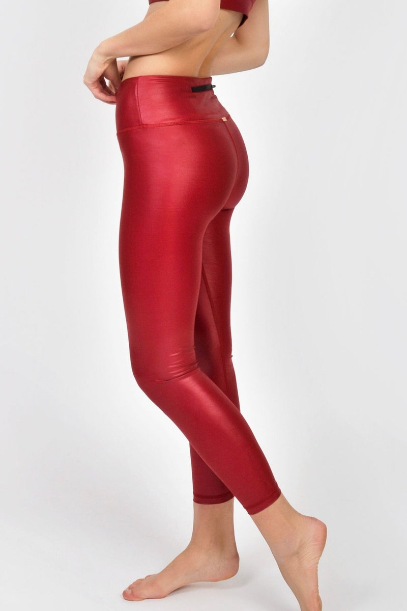 Shiny Red Leggings - Xzena